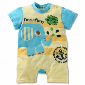 Baby Elephant Short Sleeve Romper
