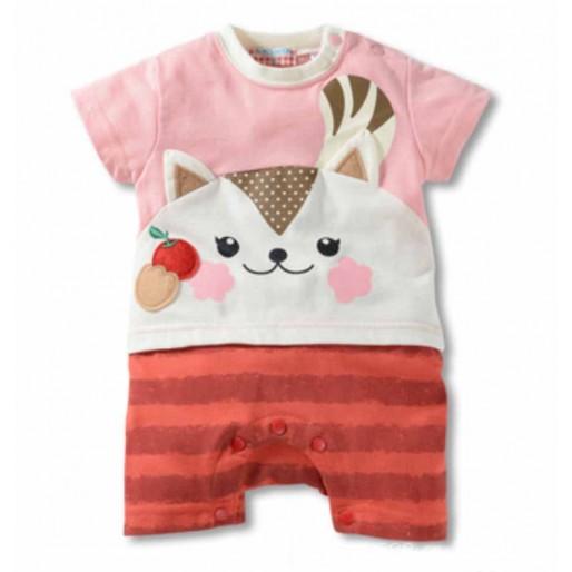 Pink Cat Short Sleeve Romper