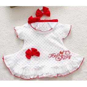 Hello Kitty 3pcs White Polka Dot Short Sleeve Romper Set
