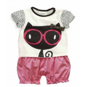 Black Kitty Short Sleeve Romper