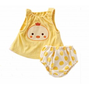 Chick 2pcs Sleeveless Romper with Puff Pant