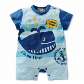 Baby Whale Short Sleeve Romper