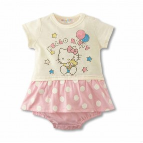 Hello Kitty Pink Polka Dot Short Sleeve Romper