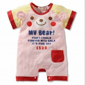 Baby Pink Bear Girl Short Sleeve Romper