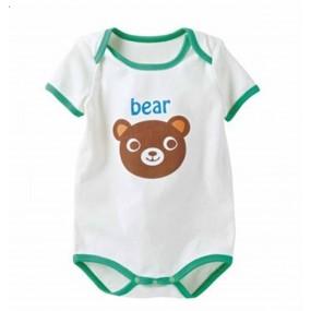 Bear White Short Sleeve Romper