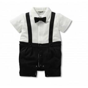 Black Tuxedo Short Sleeve Romper