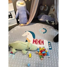 Babytoon 2-in-1 Cottony Baby Play Mat and Toy Storage Organizer