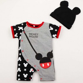 Black Mickey Short sleeve 2pcs Romper with hat