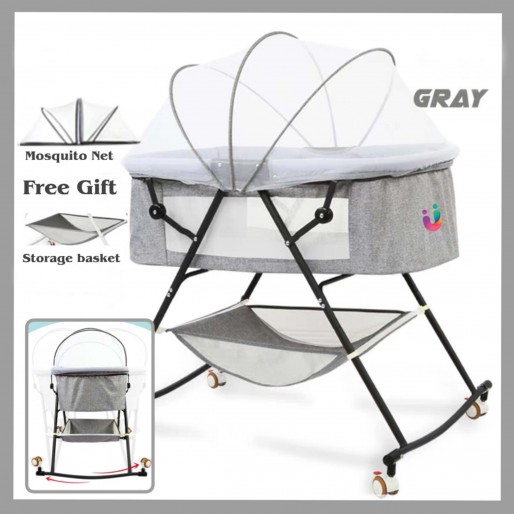 U-Smart Portable 2in1 Baby Crib and Rocking Bassinet With Wheels