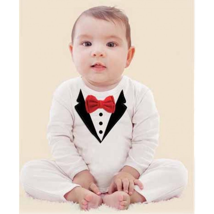 7cbfd518af5d Little Gentleman White Tuxedo Baby Romper