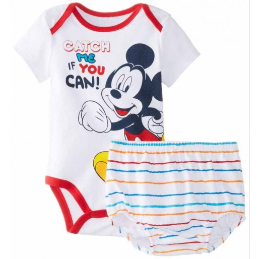 Red Mickey 2pcs Short Sleeve  Romper with bottom