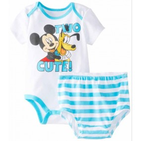Blue Mickey 2pcs Short Sleeve  Romper with bottom