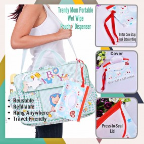 Baby Portable Reusable Eco Friendly Wet Wipe Pouch Dispenser