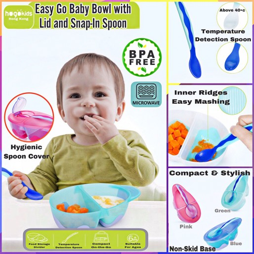 Easy Go Baby Bowl with Lid and Snap-In Spoon ( Safe BPA Free )