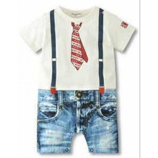 White Tee Little Tie Jean Romper